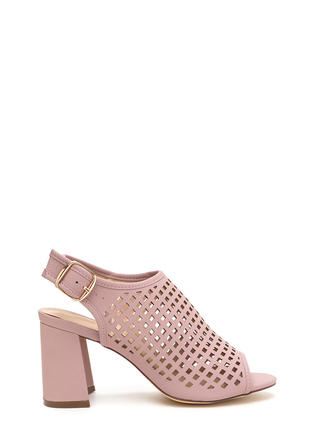 We're Square Cut-Out Chunky Heels