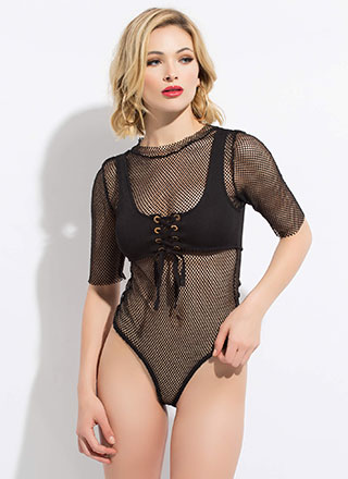 Two Good Lace-Up Fishnet Bodysuit