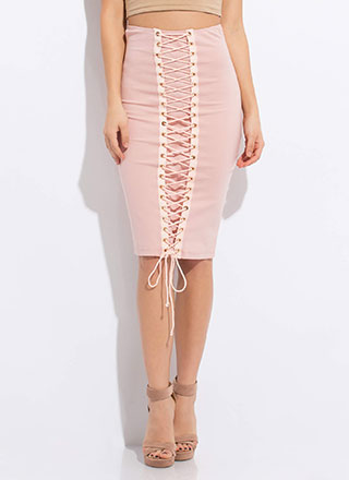 All The Way High-Waisted Lace-Up Skirt