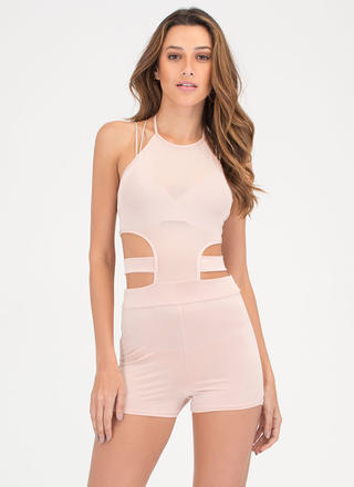 Mesh Things Up Cut-Out Halter Romper