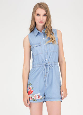 Garden Trip Embroidered Chambray Romper