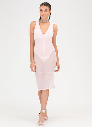 It's A Sheer Thing Plunging Midi Dress