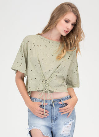 Breezy Sunday Lace-Up Crop Top