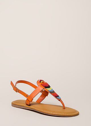 Bead You On T-Strap Faux Leather Sandals