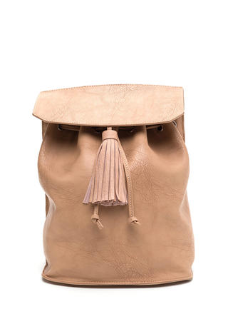 Haute Damn Faux Leather Tassel Backpack