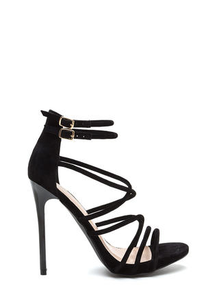 Own The Night Faux Suede Caged Heels