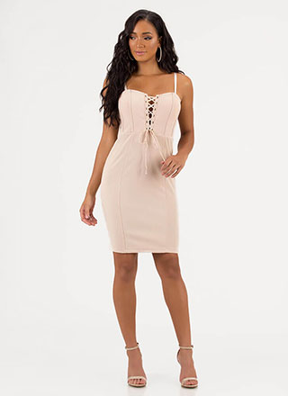 Romance Me Lace-Up Bodycon Dress
