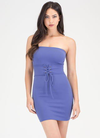 I Feel Good Strapless Lace-Up Dress