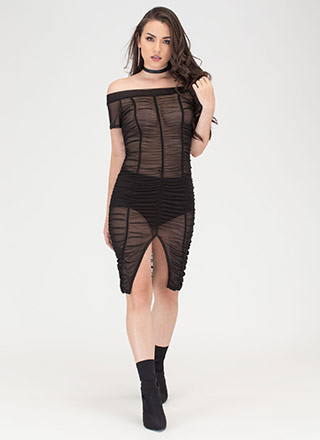 Ruche Over Sheer Off-Shoulder Dress