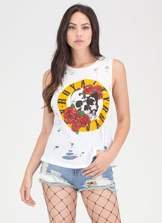 Royalty Skull And Rose Distressed Tank