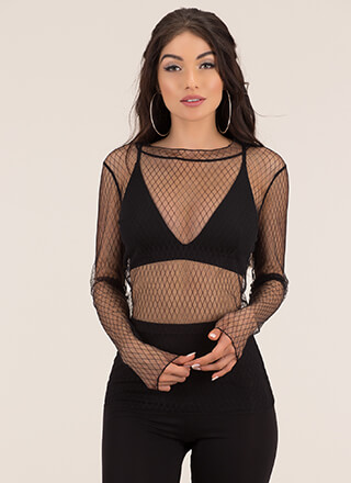 Diamond Friend Sheer Lace Blouse
