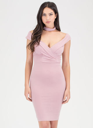 Glam Off-Shoulder Choker Midi Dress
