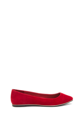 Toe To Toe Pointy Faux Suede Flats