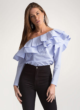 Stripe A Match Ruffled One-Shoulder Top