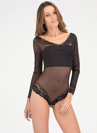 Romantic Evening Sheer Lace Bodysuit