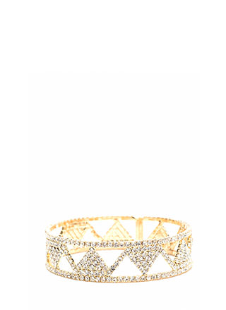 Geo Away Cut-Out Rhinestone Bracelet
