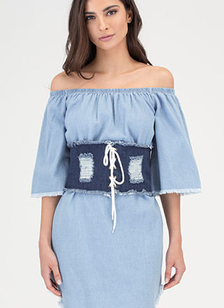 In Distressed Denim Lace-Up Corset Belt