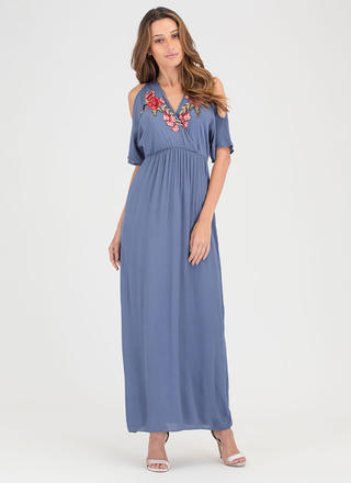 Botanical Style Cold Shoulder Maxi Dress