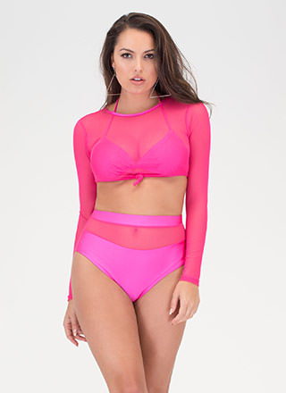 Sheer To Please Three-Piece Bikini Set