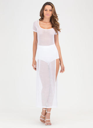 Net A Win Sheer Slit Maxi Dress