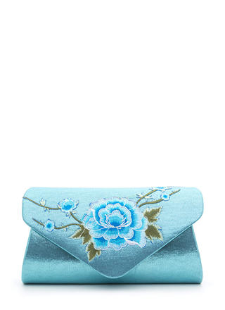 La Vie En Rose Shiny Embroidered Clutch