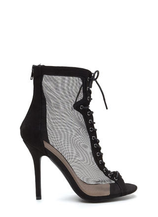 Always Sheer For You Lace-Up Booties