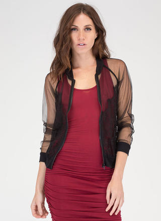 Lace Get It On Sheer Bomber Jacket