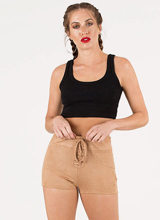 Let's Lace It Faux Suede Shorts