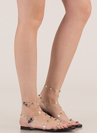 Clear Fave Studded Faux Leather Sandals