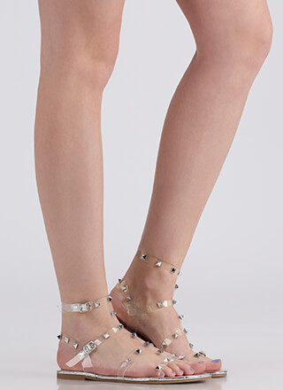 Clear Fave Studded Metallic Sandals