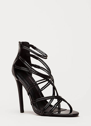 Stylish Step Faux Patent Caged Heels
