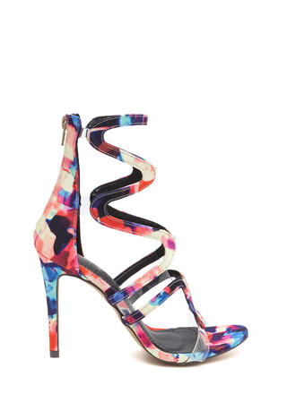 Around The Bend Caged Watercolor Heels