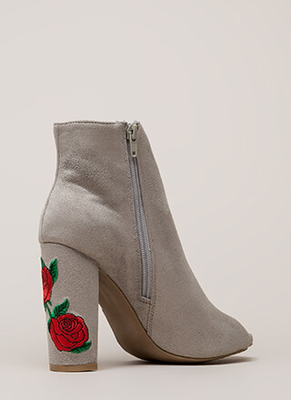 Rosy Escape Chunky Embroidered Booties