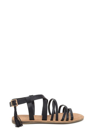 Tassel Me That Faux Leather Sandals