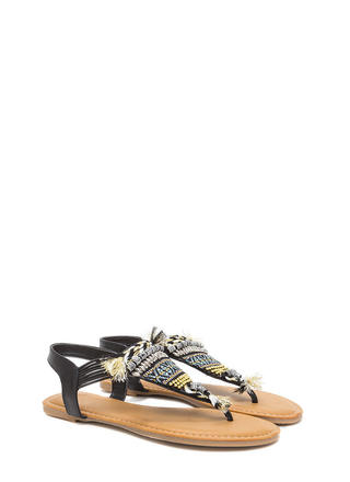 Best Of The Fest Beaded T-Strap Sandals