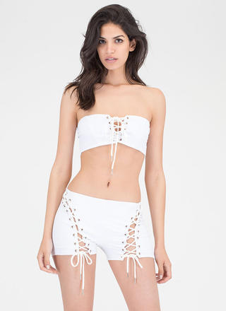 Bare It All Lace-Up Top 'N Shorts Set
