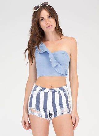 Striped Right Distressed Denim Shorts