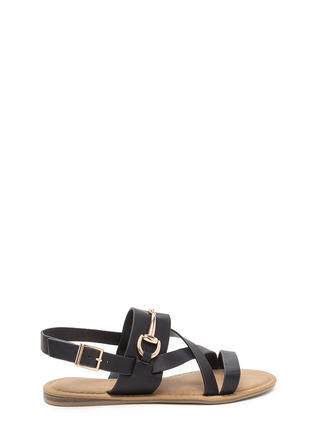 Daily Chic Strappy Faux Leather Sandals