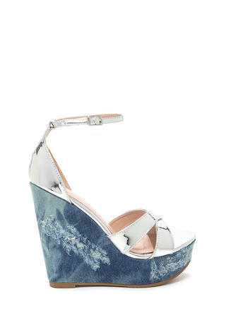 Mix Master Shiny Denim Platform Wedges