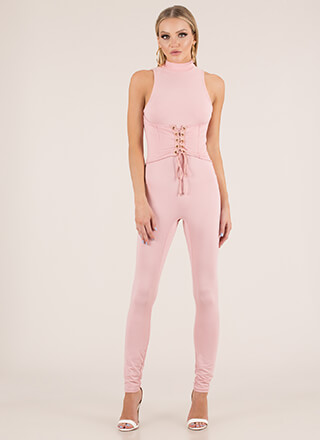 Tie It In Corset Mockneck Jumpsuit