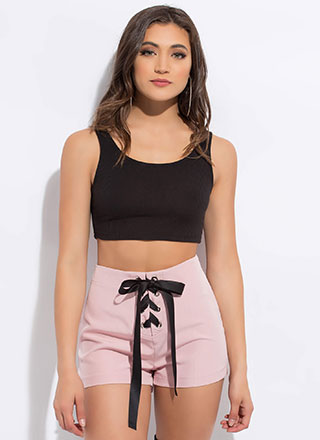 Ribbon Race Cuffed Lace-Up Shorts