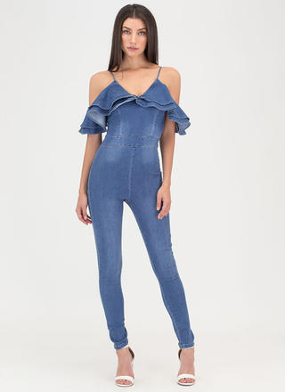 Chic Drama Denim Off-Shoulder Jumpsuit