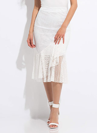 Sheer Enough Ruffled Net Midi Skirt