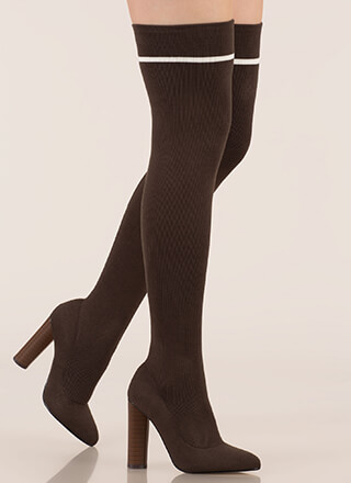 Knit's A Hit Pointy Thigh-High Boots