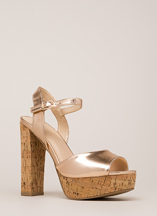 Seventies Queen Chunky Metallic Heels