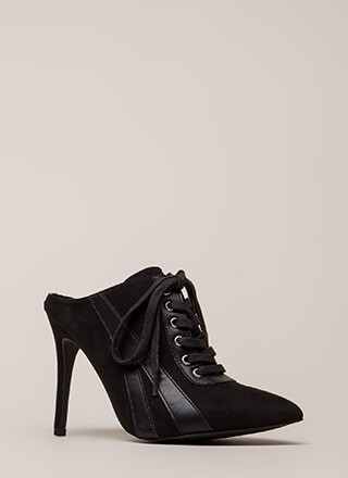 Point Blank Faux Suede Lace-Up Heels