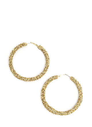 Gem Mine Glitzy Textured Hoop Earrings