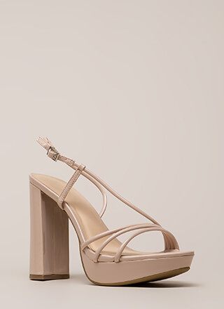 Strappy Mood Chunky Faux Patent Heels