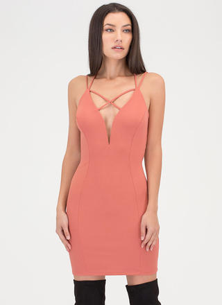Strappy To Be Here Plunging Dress