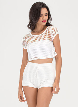 Fashion Win Sheer Net Two-Piece Romper